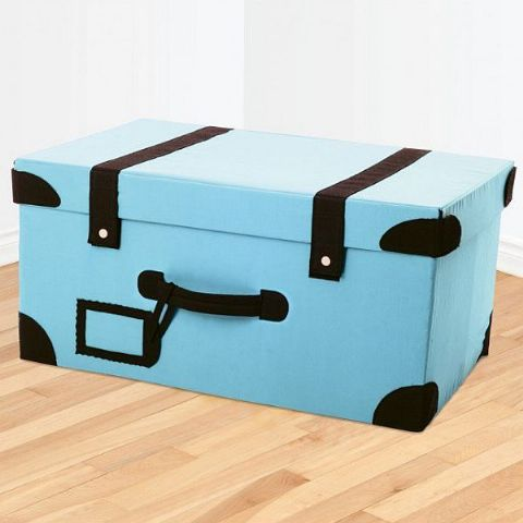 Boys Folding Blue Toy Storage Suitcase Box